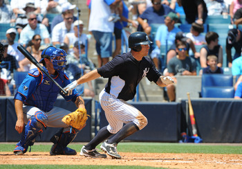 TAMPA, FL - APRIL 04: Outfielder Brett Gardner #11 of the New York Yankees bats against the New York Mets in a spring training game April 4, 2012  at George M. Steinbrenner Field in Tampa, Florida. (Photo by Al Messerschmidt/Getty Images)
