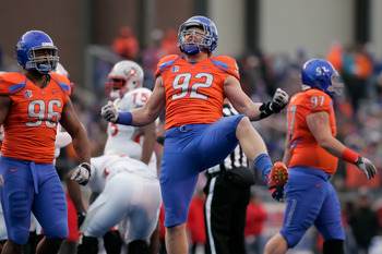 BOISE, ID - DECEMBER 03: Shea McClellin #92 of the Boise State Broncos reacts after a play against the New Mexico Lobos at Bronco Stadium on December 3, 2011 in Boise, Idaho.  (Photo by Otto Kitsinger III/Getty Images)