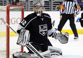 Jonathan Quick sitting on his throne.