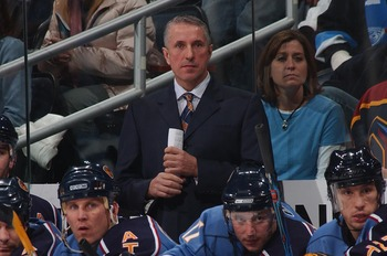 Bob Hartley nehind the bench in Atlanta.