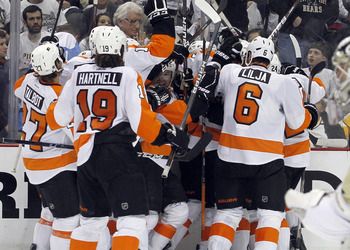 The Flyers stunned the Penguins to open their 2012 series.
