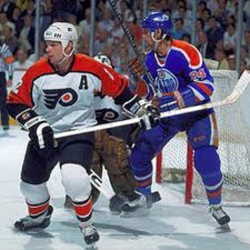 Mark Howe, the Flyers lone Hall of Famer, as they went up against a roster full of them.