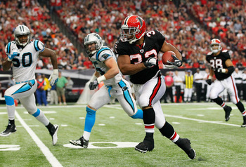 Michael Turner ran for over 100-yards twice against the Carolina Panthers in 2011.