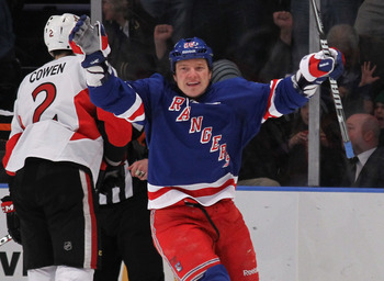 NEW YORK, NY - APRIL 14:  Ruslan Fedotenko #26 of the New York Rangers celebrates a powerplay goal at 10:11 of the first period by Anton Stralman #32 (not shown) against the Ottawa Senators in Game Two of the Eastern Conference Quarterfinals during the 20