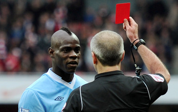 Balotelli receiving Red Card