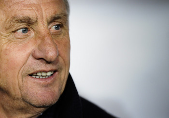 BARCELONA, SPAIN - DECEMBER 30:  Catalonia head coach Johan Cruyff  looks on prior to an International Friendly match between Catalonia and Tunisia at Estadi Olimpic Lluis Companys on December 30, 2011 in Barcelona, Spain.  (Photo by David Ramos/Getty Ima