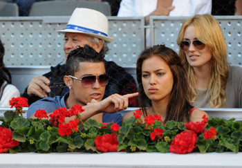 MADRID, SPAIN - MAY 08:  Cristiano Ronaldo and girlfriend Irina Shayk  during the final match of the Mutua Madrilena Madrid Open Tennis on May 8, 2011 in Madrid, Spain.  (Photo by Jasper Juinen/Getty Images)