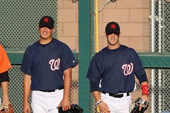 Sammy Solis, left, with Bryce Harper at the 2010 Arizona Fall League.