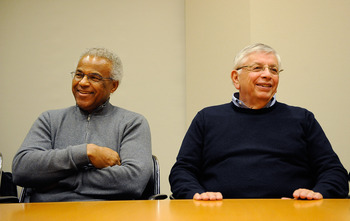 Leader of the Players Union Billy Hunter and Commissioner David Stern are all smiles.