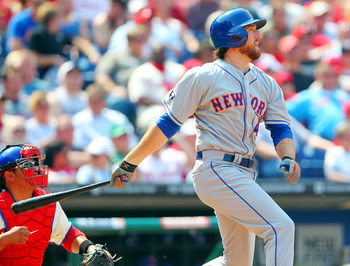 PHILADELPHIA, PA - APRIL 15: Ike Davis #29 the New York Mets watches the flight of the ball as he singles in the fourth inning against the Philadelphia Phillies in a MLB baseball game on April 15, 2012 at Citizens Bank Park in Philadelphia, Pennsylvania.