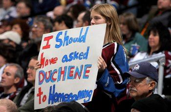 DENVER - OCTOBER 24:  A young fan holds up a sign in support of Matt Duchene #9 of the Colorado Avalanche as he skates against the Detroit Red Wings during NHL action at the Pepsi Center on October 24, 2009 in Denver, Colorado. The Avalanche defeated the 
