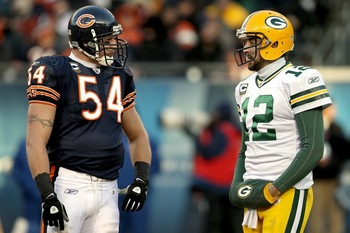 Brian Urlacher with Aaron Rodgers