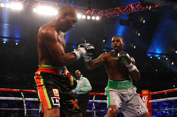 47-year-old Bernard Hopkins in the middle of a defeat to 29-year-old Chad Dawson