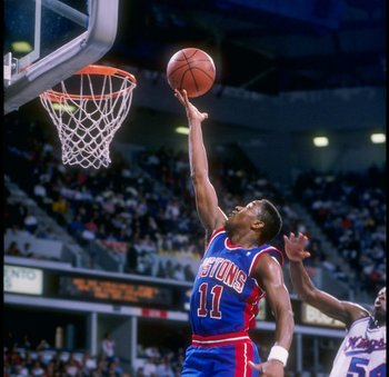 Isiah Thomas led the Pistons to their second consecutive finals win in 1990.