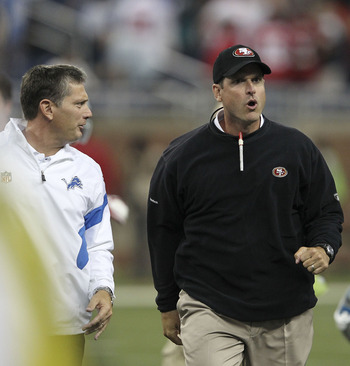 At the end of the Lions and 49ers game, Harbaugh and Schwartz had a little disagreement on the proper way to say, &quot;good game.&quot;
