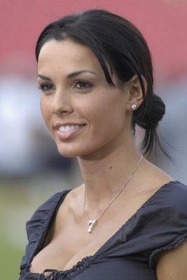 TAMPA, FL - AUGUST 30: Carmella DeCesare, wife of quarterback Jeff Garcia of the Tampa Bay Buccaneers watches warmups before play against the Houston Texans in a pre-season game at Raymond James Stadium on August 30, 2007 in Tampa, Florida.  The Bucs won