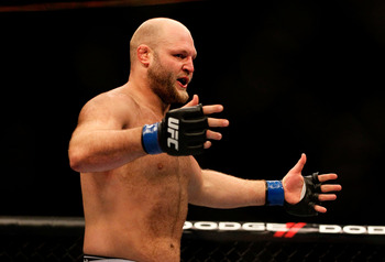 ATLANTA, GA - APRIL 21:  Ben Rothwell celebrates defeating Brendan Schaub in a knockout during their heavyweight bout for UFC 145 at Philips Arena on April 21, 2012 in Atlanta, Georgia.  (Photo by Kevin C. Cox/Getty Images)