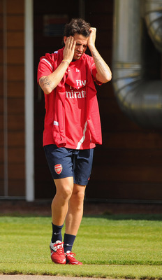 ST ALBANS, ENGLAND - AUGUST 09: Cesc Fabregas of Arsenal is seen during the England training session at London Colney on August 9, 2011 in St Albans, England.  (Photo by Michael Regan/Getty Images)