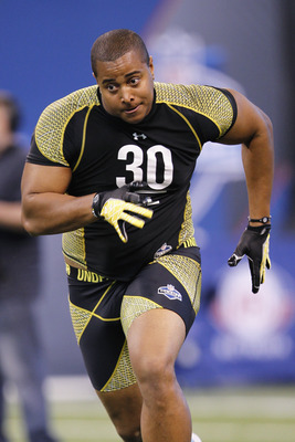 INDIANAPOLIS, IN - FEBRUARY 25: Offensive lineman Jonathan Martin of Stanford participates in a drill during the 2012 NFL Combine at Lucas Oil Stadium on February 25, 2012 in Indianapolis, Indiana. (Photo by Joe Robbins/Getty Images)