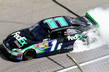 Denny Hamlin came out on top Sunday at Kansas