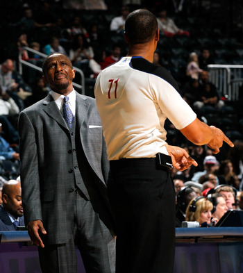 ATLANTA, GA - JANUARY 16:  Dwane Casey of the Toronto Raptors reacts after a call by referee Rodney Mott #71 during the game against the Atlanta Hawks at Philips Arena on January 16, 2012 in Atlanta, Georgia.  NOTE TO USER: User expressly acknowledges and