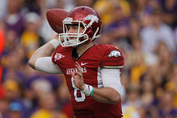 Senior QB Tyler Wilson is a reason why some Razorbacks fans are optimistic going into 2012.