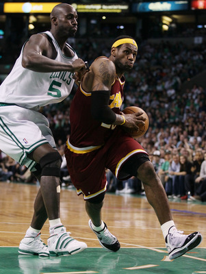 BOSTON - MAY 09:  LeBron James #23 of the Cleveland Cavaliers heads for the basket as Kevin Garnett #5 of the Boston Celtics defends during Game Four of the Eastern Conference Semifinals of the 2010 NBA playoffs at TD Garden on May 9, 2010 in Boston, Mass