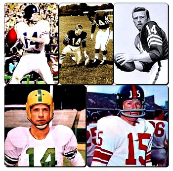 George Shaw - Top row:  as a Baltimore Colt.  Bottom Row:  George as a Duck and a Giant.
