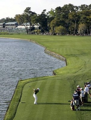 Tee shot at No. 18 TPC Sawgrass