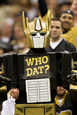 NEW ORLEANS, LA - DECEMBER 4:   Fan of the New Orleans Saints is is dressed up for the game against the Detroit Lions at Mercedes-Benz Superdome on December 4, 2011 in New Orleans, Louisiana.  The Saints defeated the Lions 31-17.  (Photo by Wesley Hitt/Ge