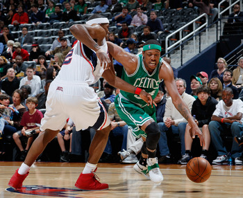 Paul Pierce still has the upper hand on former teammate Joe Johnson.