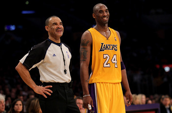 Perhaps the best NBA official in Dan Crawford with Kobe Bryant (the best player?)