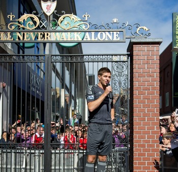 Steven Gerrard speaks to the Dublin crowd during the Reds Home Away From Home campaign near the end of the 2010-11 season.