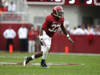 TUSCALOOSA, AL - NOVEMBER 19:  Defensive back Robert Lester #37 of the Alabama Crimson Tide gets in position to make a play during the game against the Georgia Southern Eagles at Bryant-Denny Stadium on November 19, 2011 in Tuscaloosa, Alabama.  (Photo by