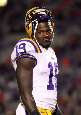 OXFORD, MS - NOVEMBER 19: Deangelo Peterson #19 of the LSU Tigers looks on from the sideline during a timeout against the Ole Miss Rebels on November 19, 2011 at Vaught-Hemingway Stadium in Oxford, Mississippi. LSU beat Mississippi 52-3. (Photo by Joe Mur