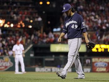 Yovani Gallardo endured the shortest outing of his career Friday night in St. Louis.