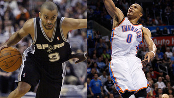 Point guards Tony Parker (left) and Russell Westbrook (right) will each try to lead their teams to the NBA Finals.
