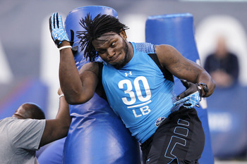 Alabama defensive end Courtney Upshaw shows his skills at the 2012 NFL Combine.