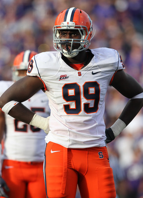 SEATTLE - SEPTEMBER 11:  Chandler Jones #99 of the Syracuse Orange looks on during the game against the Washington Huskies on September 11, 2010 at Husky Stadium in Seattle, Washington. (Photo by Otto Greule Jr/Getty Images)