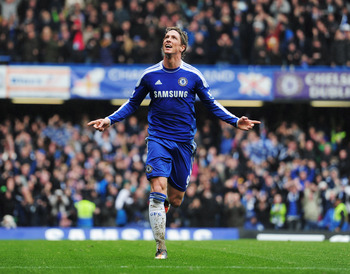 LONDON, ENGLAND - APRIL 29:  Fernando Torres of Chelsea celebrates as he scores their fourth goal during the Barclays Premier League match between Chelsea and Queens Park Rangers at Stamford Bridge on April 29, 2012 in London, England.  (Photo by Jamie Mc
