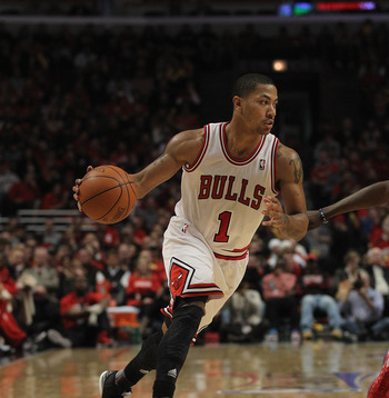 Derrick Rose dribbles during Chicago's 103-91 win over Philadelphia, in which he got hurt.