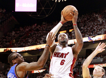 LeBron James takes a shot in Miami's 100-67 win over New York.