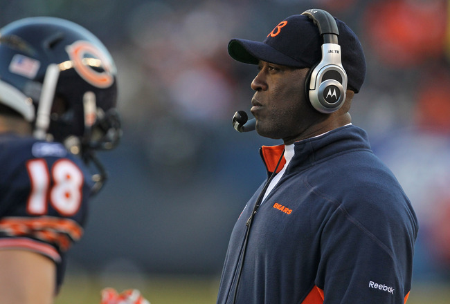 CHICAGO, IL - DECEMBER 18:  Head coach Lovie Smith of the Chicago Bears watches as his team takes on the Seattle Seahawks at Soldier Field on December18, 2011 in Chicago, Illinois. The Seahawks defeated the Bears 38-14.  (Photo by Jonathan Daniel/Getty Im