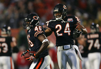 MIAMI GARDENS, FL - FEBRUARY 04:  Chris Harris #46 and Ricky Manning Jr. #24 of the Chicago Bears celebrate Harris' interception against the Indianapolis Colts during the first quarter of Super Bowl XLI on February 4, 2007 at Dolphin Stadium in Miami Gard