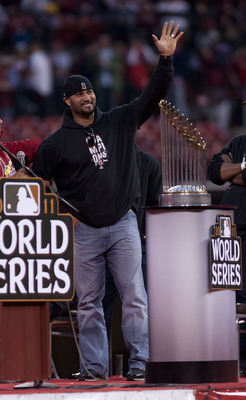 Pujols address the crowd at a World Series victory celebration at the Cardinals' Busch Stadium.