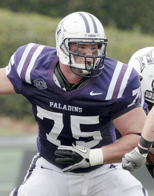 Furman offensive lineman Ryan Lee is athletic (Photo courtesy: Times-Georgian)