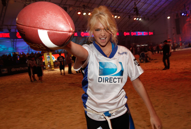 INDIANAPOLIS, IN - FEBRUARY 04:  Model Kate Upton attends DIRECTV's Sixth Annual Celebrity Beach Bowl Game at Victory Field on February 4, 2012 in Indianapolis, Indiana.  (Photo by Christopher Polk/Getty Images for DirecTV)