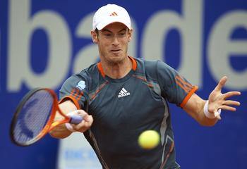 BARCELONA, SPAIN - APRIL 27:  Andy Murray of Great Britain returns a ball to Milos Raonic of Canada during their match on day 5 of the ATP 500 World Tour Barcelona Open Banco Sabadell 2012 tennis tournament at the Real Club de Tenis on April 27, 2012 in B