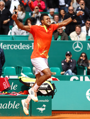 MONTE-CARLO, MONACO - APRIL 19:  Jo-Wilfried Tsonga of France jumps to celebrate his victory over Fernando Verdasco of Spain during day five of the ATP Monte Carlo Masters on April 19, 2012 in Monte-Carlo, Monaco.  (Photo by Julian Finney/Getty Images)