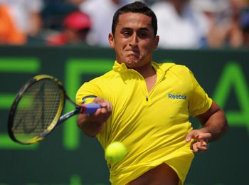 KEY BISCAYNE, FL - MARCH 27:  Nicolas Almagro of Spain in action during his match with Mardy Fish of the USA on day 9 of the Sony Ericsson Open at Crandon Park Tennis Center on March 27, 2012 in Key Biscayne, Florida.  (Photo by Michael Regan/Getty Images